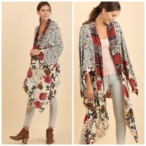 Umgee Boho Floral Kimono Duster Wrap Cardigan S/M